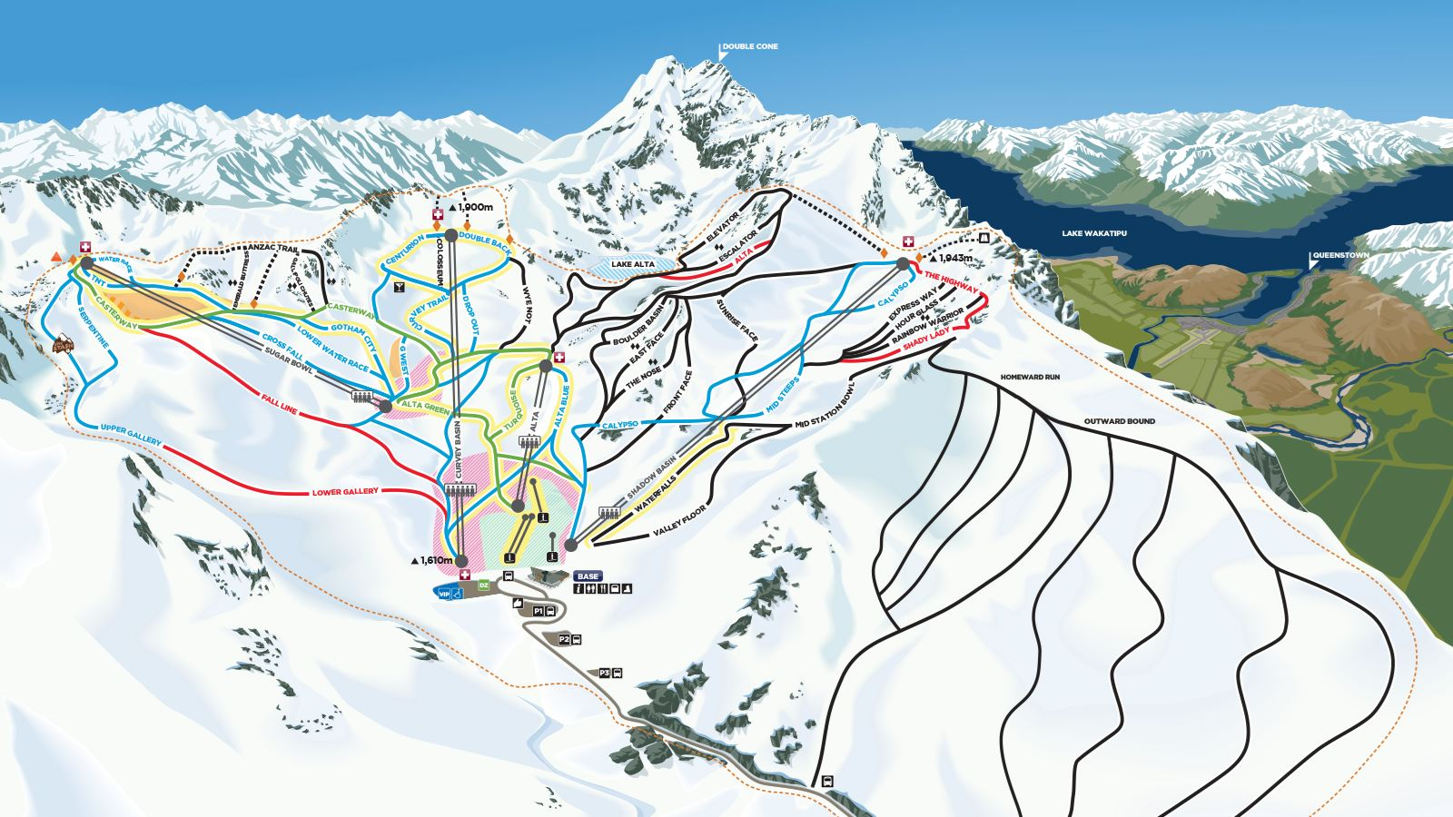 New Zealand Mountains Map.The Remarkables Ski Field The Remarkables Ski New Zealand