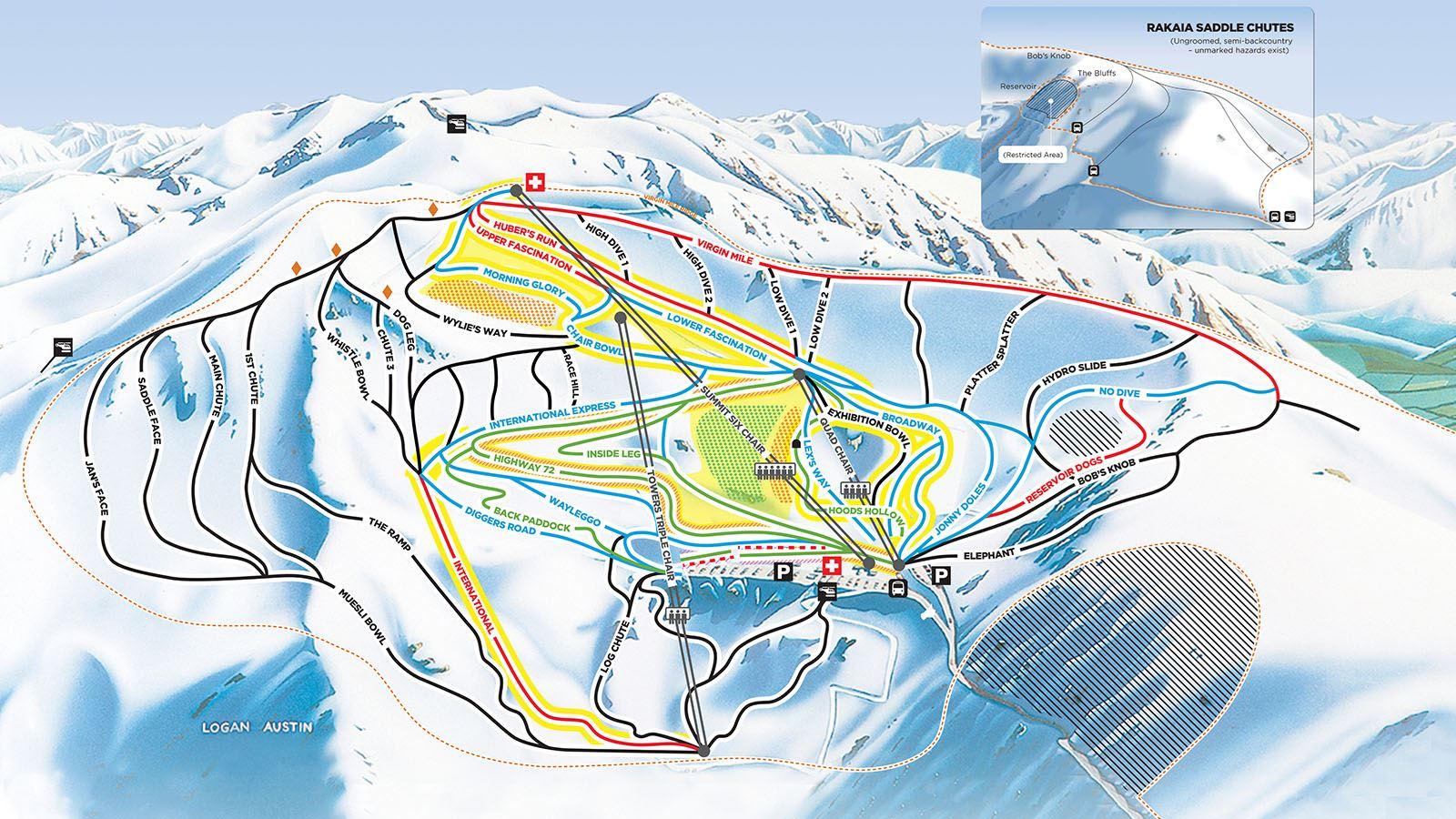 New Zealand Mountains Map.Mt Hutt Ski Field Mt Hutt Ski New Zealand